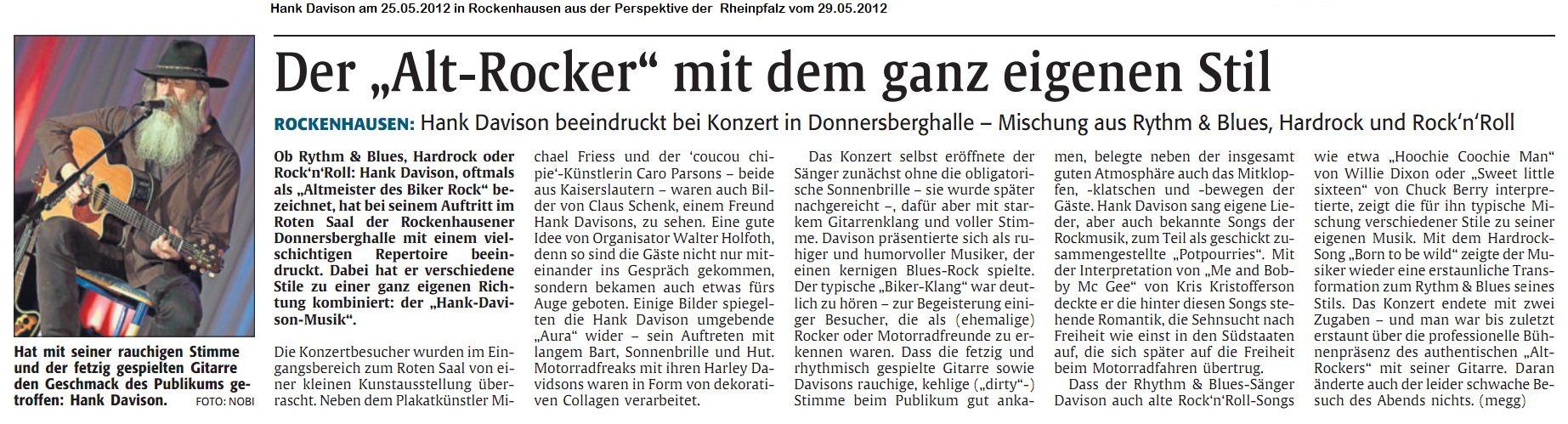 Presse vom 24.05.2012 Rockenhausen-Rheinpfalz vom 29.05.2012